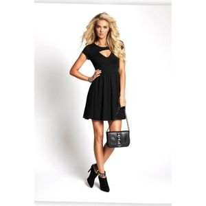 Guess   Short Sleeve Fit and Flare Cut Out Dress